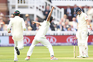 Hasan Ali of Pakistan celebrates after taking the wicket of Joe Root (capt) on Day One of the NatWest Test Match match at Lord's, London<br /> Picture by Simon Dael/Focus Images Ltd 07866 555979<br /> 24/05/2018