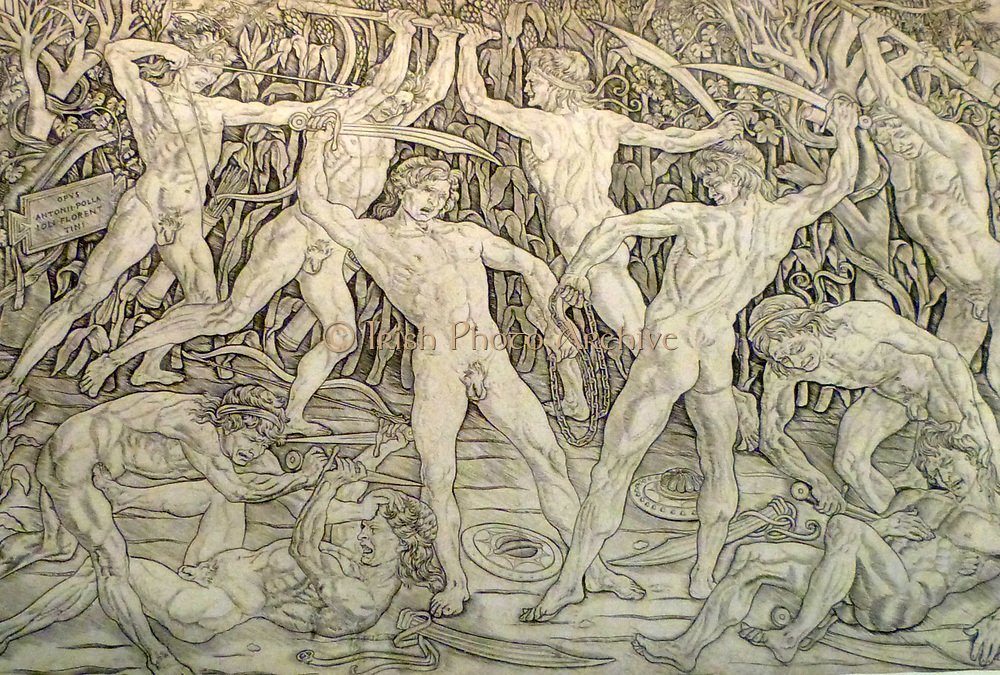 Studies of Male Nudes in Combat. Terracotta, Italy  Circa 1470-1500.  The Florentine painter Antonio Pollaiuolo's interest in drawing the male nude in active poses was shared by many Renaissance artists.  His engraving was distributed across Italy and Northern Europe, as shown by the figures appearing in other works of art.