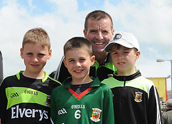 Joey and Ben Holmes with Lucas and Martin Kennedy from Westport amoung the Mayo supporters at McHale Park on saturday last.<br /> Pic Conor McKeown