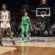 March 31, 2019; Portland, OR, USA;  Oregon Ducks forward Satou Sabally (0) yells after scoring against the Mississippi State Bulldogs in the Elite Eight of the NCAA Women's Tournament at Moda Center.<br /> Photo by Jaime Valdez