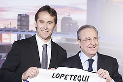 June 14, 2018 - Madrid, Spain - JULEN LOPETEGUI and FLORENTINO PEREZ during the presentation of Julen Lopetegui as new head coach of Real Madrid F.C. at Santiago Bernabeu Stadium. Lopetegui has been sacked as manager of Spain, after taking the Real Madrid job on Tuesday. (Credit Image: © Jack Abuin via ZUMA Wire)