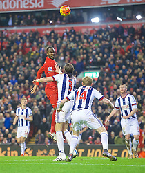 LIVERPOOL, ENGLAND - Sunday, December 13, 2015: Liverpool's Christian Benteke in action against West Bromwich Albion during the Premier League match at Anfield. (Pic by James Maloney/Propaganda)