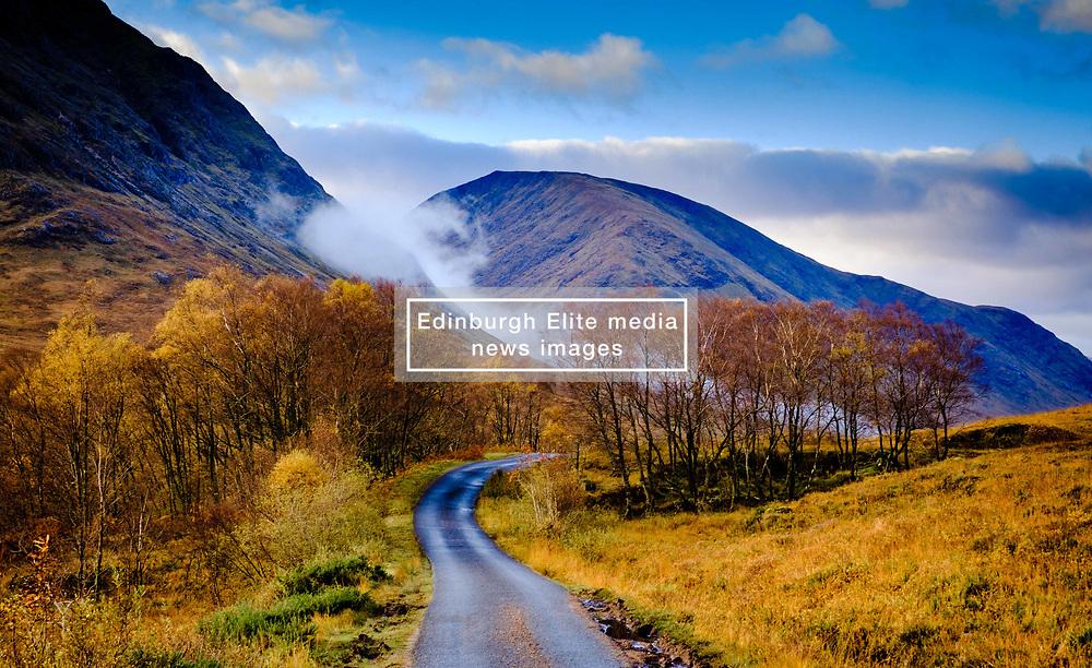 The single track road down Glen Etive, Highlands of Scotland<br /> <br /> (c) Andrew Wilson | Edinburgh Elite media