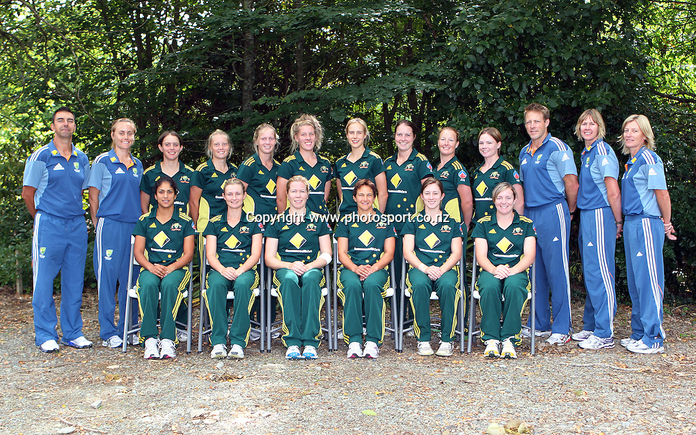 The Australian team pose for a group photo.<br /> Cricket - Rosebowl Series. Twenty20 International - New Zealand White Ferns v Australia, 20 February 2011, Queens Park, Invercargill, New Zealand.<br /> Photo: Rob Jefferies / www.photosport.co.nz