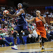 UNCASVILLE, CONNECTICUT- JUNE 3:   Tiffany Hayes #15 of the Atlanta Dream drives to the basket past Jasmine Thomas #5 of the Connecticut Sun during the Atlanta Dream Vs Connecticut Sun, WNBA regular season game at Mohegan Sun Arena on June 3, 2016 in Uncasville, Connecticut. (Photo by Tim Clayton/Corbis via Getty Images)