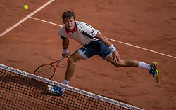 June 2, 2017 - Paris, France - Pablo Carreno Busta of Spain returns the ball to Grigor Dimitrov of Bulgaria during the third round at Roland Garros Grand Slam Tournament - Day 6 on June 2, 2017 in Paris, France. (Credit Image: © Robert Szaniszlo/NurPhoto via ZUMA Press)