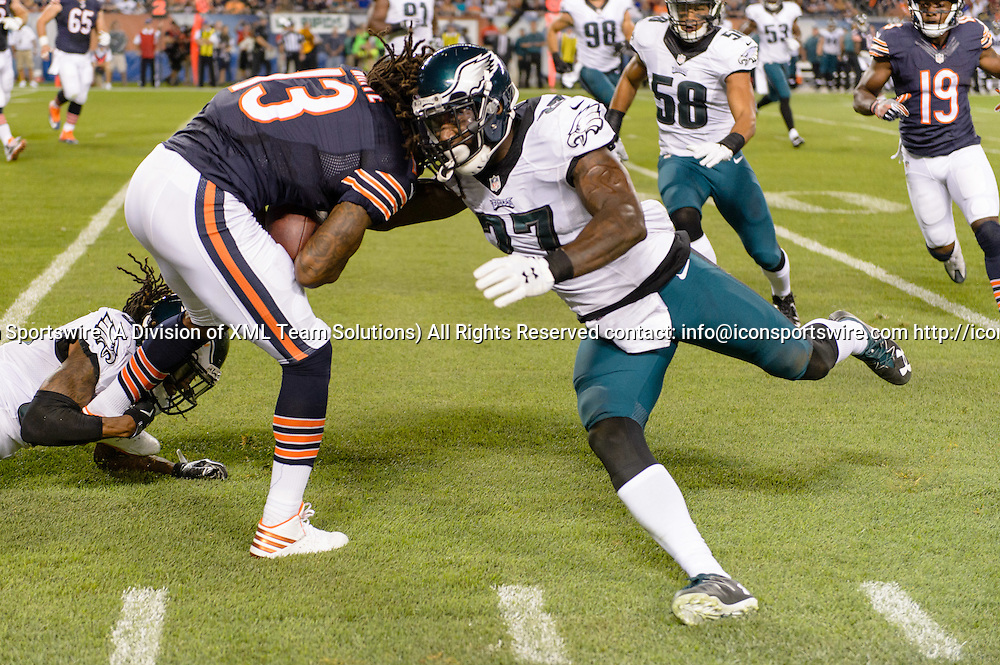 19 September 2016: Chicago Bears Wide Receiver Kevin White (13) [20983] and Philadelphia Eagles Safety Malcolm Jenkins (27) [10266] collides after a White reception during an NFL football game between the Philadelphia Eagles and the Chicago Bears at Solider Field in Chicago, IL. (Photo by Daniel Bartel/Icon Sportswire)