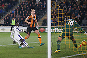 Newcastle United midfielder Mohamed Diame (15) scores a goal  to make the score 0-1 during the EFL Quarter Final Cup match between Hull City and Newcastle United at the KCOM Stadium, Kingston upon Hull, England on 29 November 2016. Photo by Simon Davies.