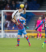 Dundee's Julen Etxabeguren jumps over the top of Inverness' Billy McKay - Inverness Caledonian Thistle v Dundee in the Ladbrokes Scottish Premiership at Caledonian Stadium, Inverness.Photo: David Young<br /> <br />  - © David Young - www.davidyoungphoto.co.uk - email: davidyoungphoto@gmail.com