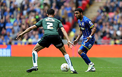 Andy Barcham of AFC Wimbledon takes on Kelvin Mellor of Plymouth Argyle - Mandatory by-line: Robbie Stephenson/JMP - 30/05/2016 - FOOTBALL - Wembley Stadium - London, England - AFC Wimbledon v Plymouth Argyle - Sky Bet League Two Play-off Final