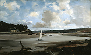 Morlaix - The river at mid-tide', 1874.   Oil on canvas.  Emmanuel Lansyer (1835-1893) French landscape painter.  Estuary of the River Dossen. France Finistere Brittany