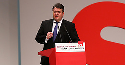11.12.2015, City Cube Berlin, Messegelaende, Berlin, GER, SPD Parteitag, im Bild SPD-Vorsitzender Sigmar Gabriel mit seiner Parteitagsrede // during the german socialist Party congress at the City Cube Berlin, Messegelaende in Berlin, Germany on 2015/12/11. EXPA Pictures © 2015, PhotoCredit: EXPA/ Eibner-Pressefoto/ Hundt<br /> <br /> *****ATTENTION - OUT of GER*****