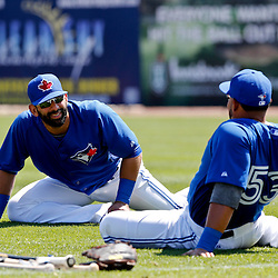 Mar 5, 2013; Dunedin, FL, USA; Toronto Blue Jays right fielder Jose Bautista (19) and left fielder Melky Cabrera (53) stretch before a spring training game against the Baltimore Orioles at Florida Auto Exchange Park. Mandatory Credit: Derick E. Hingle-USA TODAY Sports