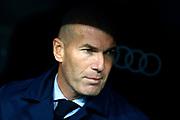 Real Madrid's French coach Zinedine Zidane reacts during the Spanish championship Liga football match between Real Madrid and Villarreal on January 13, 2018 at Santiago Bernabeu stadium in Madrid, Spain - Photo Benjamin Cremel / ProSportsImages / DPPI