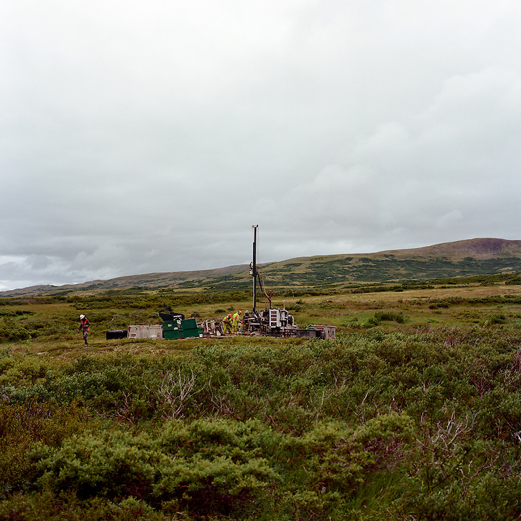Proposed Pebble Mine site<br /> Aug. 9, 2017<br /> <br /> Workers fill in the holes where they had previously taken core samples at the proposed Pebble Mine site, 20 miles from Iliamna, Alaska.