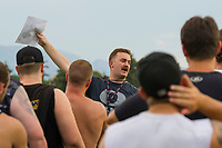 KELOWNA, CANADA - JULY 17:  Okanagan Sun football head coach Ben MacAuley speaks to players as the season gets underway with Day of training camp on July 17, 2018 at the Apple Bowl in Kelowna, British Columbia, Canada.  (Photo by Marissa Baecker/Shoot the Breeze)  *** Local Caption ***