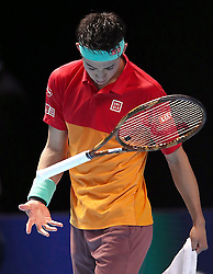 Japan's Kei Nishikori shows his dejection during the Men's Singles during day five of the Nitto ATP Finals at The O2 Arena, London. PRESS ASSOCIATION Photo. Picture date: Thursday November 15, 2018. See PA story TENNIS London. Photo credit should read: John Walton/PA Wire. RESTRICTIONS: Editorial use only, No commercial use without prior permission.