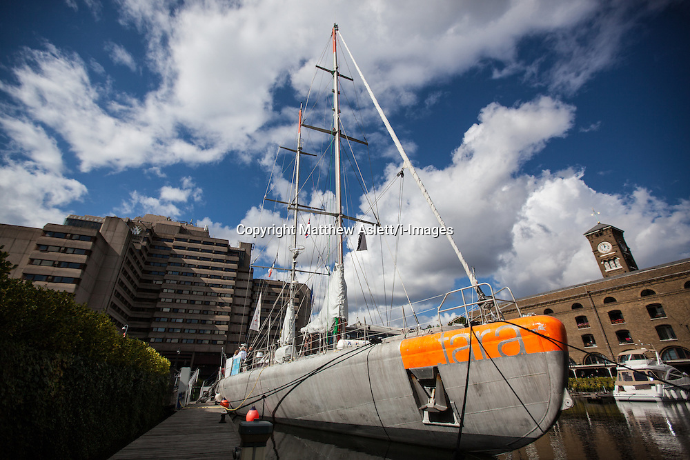 The French scientific research vessel Tara as it arrives in London for a ten-day stay. The schooner has just completed a two-and-a-half year, 70,000-mile voyage across the Atlantic, Pacific, Antarctic and Indian Oceans, investigating marine ecosystems and biodiversity under the impact of climate change, St Katharine's Docks, London, Tuesday September 18, 2012. Photo By Matthew Aslett/i-Images