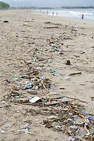 Plastic waste and rubbish on Kuta Beach, Bali, Indonesia.
