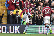 Aston Villa striker Jonathan Kodjia (26) scores a goal and celebrates  1-1 during the EFL Sky Bet Championship match between Aston Villa and Norwich City at Villa Park, Birmingham, England on 5 May 2019.