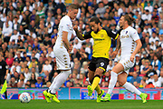 Burton Albion striker Sean Scannell (9) intercepts the ball from Leeds United defender Luke Ayling (2) and Leeds United defender Pontus Jansson (18) during the EFL Sky Bet Championship match between Leeds United and Burton Albion at Elland Road, Leeds, England on 9 September 2017. Photo by Richard Holmes.