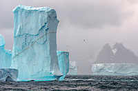 """Remnant ice split from the massive b-17b tabular iceberg grounded off South Georgia in """"Iceberg Alley."""""""