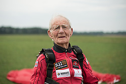 © Licensed to London News Pictures. 25/08/2016. <br /> <br /> Pictured: A portrait of D-Day veteran Fred Glover in his Parachute Regiment beret after parachuting into Sarum Airfield.<br /> <br /> Fred Glover and Ted Pieri, two D-Day veterans who are both 90 years old have parachuted into Sarum Airfield, Wiltshire on Thursday 25th August 2016, 72 years after D-Day having earlier in the month parachuted into Merville Battery in France.<br /> <br /> Photo credit should read Max Bryan/LNP