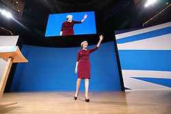October 5, 2016 - Birmingham, UK - Birmingham, UK. Prime Minister THERESA MAY gives her final keynote speech at Conservative Party Conference at International Conference Centre in Birmingham on Wednesday, 5 October 2016. (Credit Image: © Tolga Akmen/London News Pictures via ZUMA Wire)