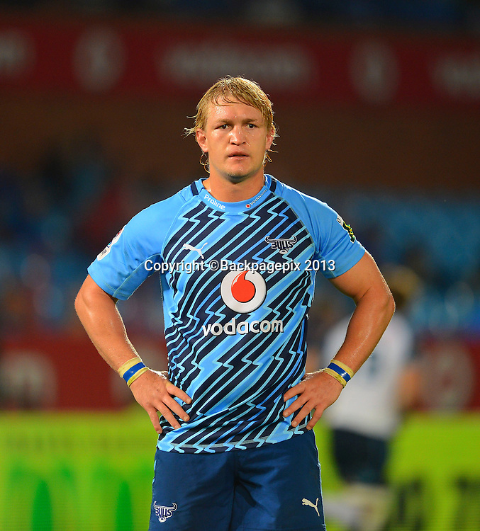 Dewald Potgieter of the Bulls during the Super Rugby match between the Bulls and the Waratahs played at Loftus Versfeld in Pretoria on April 27, 2013©Barry Aldworth/BackpagePix