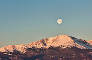 Full moon over Pikes Peak as seen from Colorado Springs, Colorado