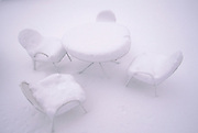 Outdoor furniture in snow