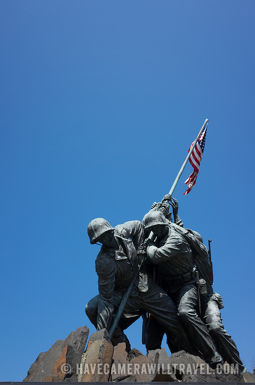 Arlington, Virginia - The US Marine Corps Memorial (popularly known as the Iwo Jima Memorial) against a clear blue sky in Arlington Virginia, overlooking the Potomac and Washington DC.