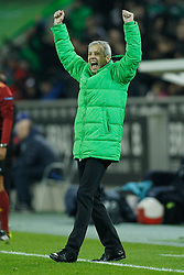 11.12.2014, Borussia Park, Moenchengladbach, GER, UEFA EL, Borussia Moenchengladbach vs FC Zuerich, Gruppe A, im Bild Trainer Lucien Favre (Borussia Moenchengladbach) beim Torjubel nach dem Treffer zum 2:0 // during the UEFA Europaleague Group A match between Borussia Moenchengladbach and FC Zuerich at the Borussia Park in Moenchengladbach, Germany on 2014/12/11. EXPA Pictures &copy; 2014, PhotoCredit: EXPA/ Eibner-Pressefoto/ Schueler<br /> <br /> *****ATTENTION - OUT of GER*****