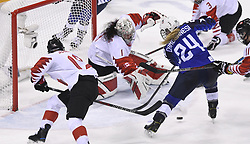February 22, 2018 - Pyeongchang, South Korea - USA's DANI CAMERANESI can't get the puck past Canada goalie SHANNON SZABADOS in the third period of the Women's Gold Medal Ice Hockey game Thursday, February 22, 2018 at Gangneung Hockey Centre at the Pyeongchang Winter Olympic Games. Photo by Mark Reis, ZUMA Press/The Gazette (Credit Image: © Mark Reis via ZUMA Wire)