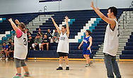 Mount Mansfield puts their hands up on defense during the unified basketball game between Colchester and Mount Mansfield at MMU High School on Monday afternoon April 25, 2016 in Jericho. (BRIAN JENKINS/for the FREE PRESS)