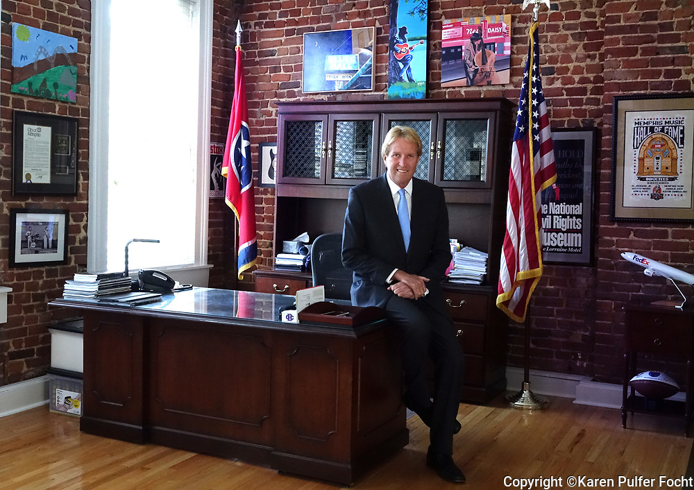 "Kevin Kane is President and CEO at Memphis Convention & Visitors Bureau. He is in his downtown office. The city's music brand and iconic logo ""Memphis – Home of the Blues, Birthplace of Rock 'n' Roll,"" was created under his direction."