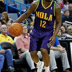 February 10, 2012; New Orleans, LA, USA; New Orleans Hornets point guard Donald Sloan (12) against the Portland Trail Blazers during the a game at the New Orleans Arena. The Trail Blazers defeated the Hornets 94-86. Mandatory Credit: Derick E. Hingle-US PRESSWIRE