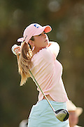 March 27, 2005; Rancho Mirage, CA, USA;  Rookie Paula Creamer tees off at the 3rd hole during the final round of the LPGA Kraft Nabisco golf tournament held at Mission Hills Country Club. <br />