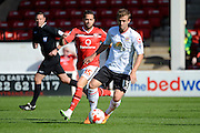 Walsall striker Milan Lalkovic tracks Crewe Alexandra midfielder David Fox during the Sky Bet League 1 match between Walsall and Crewe Alexandra at the Banks's Stadium, Walsall, England on 26 September 2015. Photo by Alan Franklin.