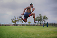 Carlin Isles engages in a leap drill during a workout session at  The Olympic Training Center in Chula Vista, CA on Monday, April 9, 2016  Isles currently plays Rugby for the 2016 Olympic United States National Sevens Rugby team. He has been touted as the fastest rugby player in the world.(Photo by Sandy HUffaker/Zuma Press)