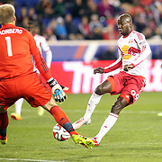 Bradley Wright-Phillips, New York Red Bulls, has a goal disallowed for off side as he beats goalkeeper Eric Kronberg, Sporting Kansas City, during the New York Red Bulls V Sporting Kansas City, Major League Soccer Play Off Match at Red Bull Arena, Harrison, New Jersey. USA. 30th October 2014. Photo Tim Clayton