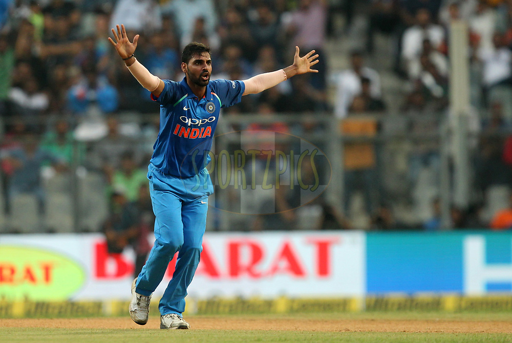 Bhuvneshwar Kumar of India unsuccessfuly appeals during the 1st One Day International match between India and New Zealand held at the Wankhede Stadium in Mumbai on the 22nd October 2017Photo by Prashant Bhoot / BCCI / SPORTZPICS
