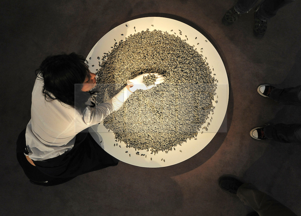 15_02_2011 Tonight, the first lot in Sotheby's Contemporary Art Evening Auction, 100 kilograms of Ai Weiwei's handmade porcelain Sunflower Seeds (Kui Hua Zi) - the first of the artist's 'Sunflower Seed' installations ever to appear at auction - sold for £349,250 / $559,394 (£3.50 per seed)  ©London News pictures...31.01.2011. Ai Weiwei's 'Sunflower Seeds' are expected to fetch 80-120 thousand pounds. Highlights of upcoming Sotheby's sales of impressionist and modern art and contemporary art. Works on show include a Picasso portrait of his mistress and muse Marie-Therese, from 1932 which is estimated to fetch £12 to £18 million, a private commission by Marc Chagall - never before seen on the market - estimated to fetch in excess of £10m and a Hockney painting estimated at £1 to £1.5m. . Picture Credit should read Stephen Simpson/LNP