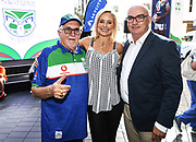 Sir Peter Leitch ( aka the mad butcher ), Nicky Styris and CEO Cameron George at the Vodafone Warriors Season Launch 2019. NRL Rugby League. Sky City, Auckland, New Zealand. Wednesday 6 March 2019. © Copyright photo: Andrew Cornaga / www.Photosport.nz