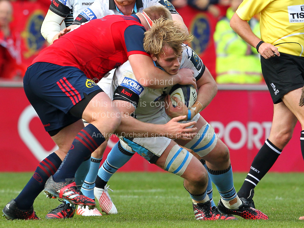 Jonny Gray of Glasgow Warriors is stopped. European Rugby Champions cup match, pool one, Munster Rugby v Glasgow Warriors at Thomond Park in Limerick , Ireland on Saturday 22nd October 2016.<br /> pic by  John Halas, Andrew Orchard sports photography.