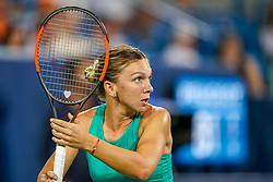August 15, 2018 - Cincinnati, OH, U.S. - CINCINNATI, OH - AUGUST 15: Simona Halep (ROU) prepares to return a shot during the Western & Southern Open at the Lindner Family Tennis Center in Mason, Ohio on August 15, 2018. (Photo by Adam Lacy/Icon Sportswire) (Credit Image: © Adam Lacy/Icon SMI via ZUMA Press)