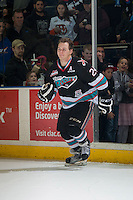 KELOWNA, CANADA - DECEMBER 4: Tyson Baillie #24 of Kelowna Rockets enters the ice to accept the second star of the game against the Medicine Hat Tigers on December 4, 2015 at Prospera Place in Kelowna, British Columbia, Canada.  (Photo by Marissa Baecker/Shoot the Breeze)  *** Local Caption *** Tyson Baillie;
