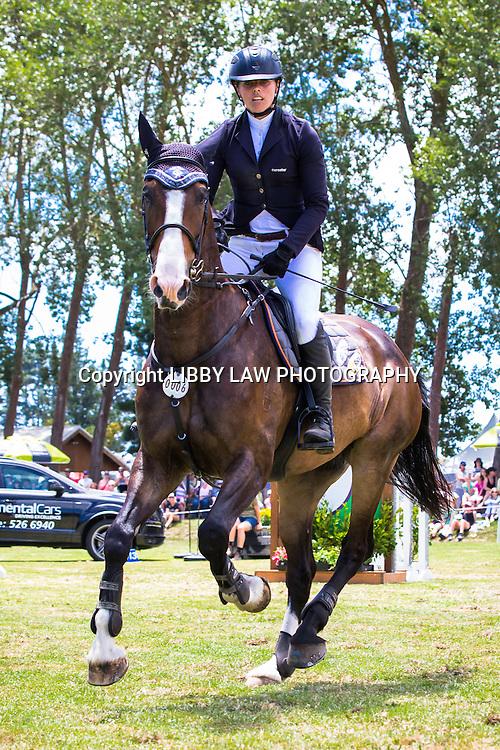 NZL-Vicki Wilson (NGAHIWI SHOWTYM PREMIER) 4TH-IMAKE Ultra.Mox World Cup Final: 2015 NZL-IMAKE Showjumping Waitemata World Cup - Woodhill Sands (Sunday 11 January) CREDIT: Libby Law/www.photosport.co.nz