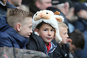 A young Derby County fan dressed as a ram during the EFL Sky Bet Championship match between Derby County and Leeds United at the Pride Park, Derby, England on 11 May 2019.