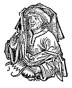 Averroes (Ibn Rushd) 1126-1198 full name Abu Al-Walid Muhammad Ibn Ahmad Ibn Muhammad Ibn Rushd, eminent medieval Islamic philosopher, native of Cordova. Wrote Commentaries on Aristotle's works and Plato's 'Republic'. Woodcut from Hartmann Schedel 'Liber
